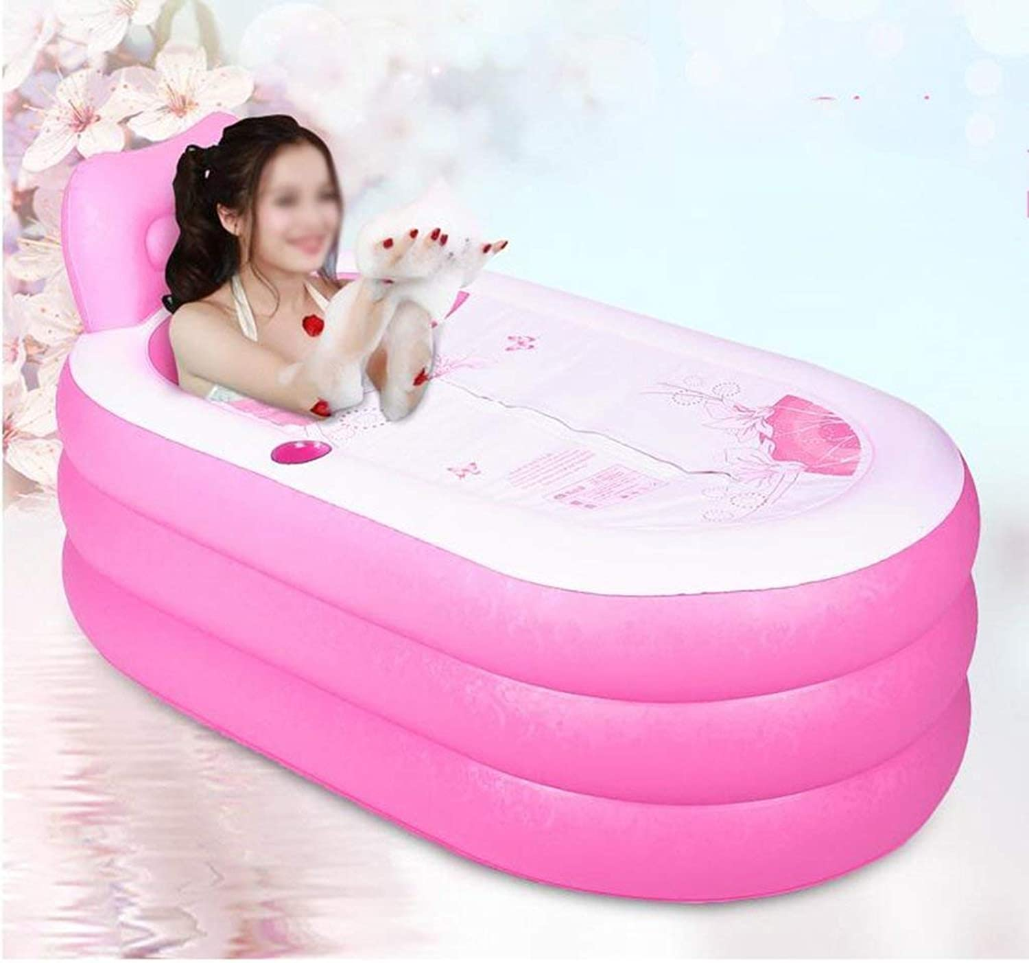 EUNADINAWENHUA Inable bathtub Inable folding thick adult bathtub Air Baths for Living Room (color   Pink, Size   150  88cm)