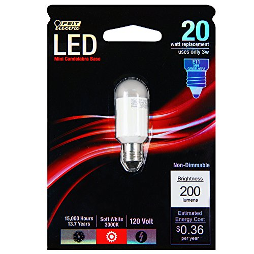 Feit Electric MC Electric Non-Dimmable Led Bulb, 3 W, 120 V, 200 Lumens, 3000K, 80, 0.68 in Dia X 2 in L