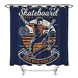 Weltwettbewerbs-Skateboard Duschvorhang für Badezimmer,wasserdichtes & schnelltrocknendes Polyester,hochauflösendes Muster,12Haken,180X180cm,Heimtextilien