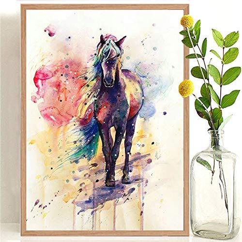 Druk van het canvas kleur paard eetkamer slaapkamer decoratie het schilderen van dierlijk materiaal frameloze schilderij kern woonkamer muurschildering geschikt voor familie slaapkamer wanddecoratie,20*28cm
