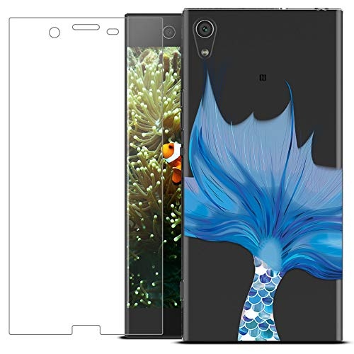 MadBee Coque Compatible avec Sony Xperia XA1 [avec Verre Trempé],Motif Design Silicone Transparente Ultra Mince TPU Souple Housse Etui de Protection Anti Rayures pour Sony Xperia XA1 (Poisson)