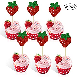 Rainlemon Strawberry Cupcake Topper Baby Girl Berry Theme Birthday Party Cake Decoration