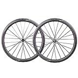 TRIAERO Aero 50 Carbon Wheels Road Bike Set 50 mm Wire Tyres Tubeless Ready 12 x 100/12 x 142 mm Disco Brake Only 1430 g