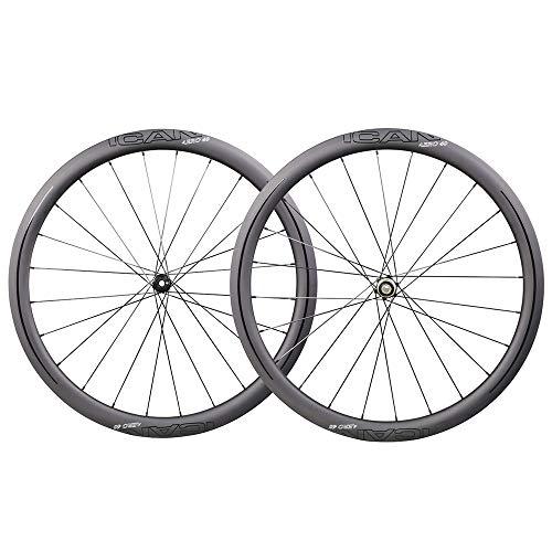 TRIAERO Ruedas de carbono Aero 45, disco de bicicleta de carretera, ruedas de 45 mm, sin tubos, disco de freno 12 x 100/12 x 142 mm, solo 1407 g