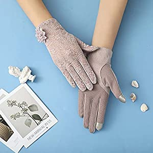 DEORBOB Summer Sunscreen Gloves Ladies Elegant Touch Screen Comfortable Ice Silk Non-Slip Durable Mittens Breathable Lace Big Flower Adult Leisure Outdoor Sunblock Riding Mitts