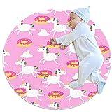 Alfombra redonda con diseño de unicornio y donuts sobre fondo rosa, antideslizante, lavable a máquina, ultra suave para el interior del sofá, sala de estar, círculo para dormitorio o sala de juegos
