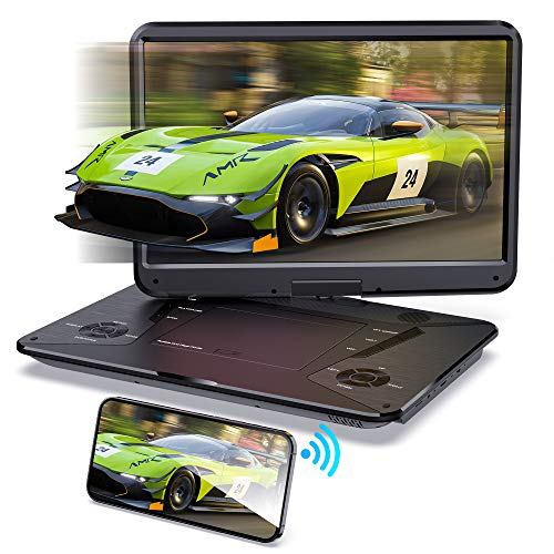 """SUNPIN Portable DVD Player 17.9"""" with HDMI Input, Screen Mirror Function,15.6"""" HD Screen, 6 Hours Rechargeable Battery, Anti-Shocking, Dolby Sound, Support 1080P/AV in&Out/USB/SD Card, Region-Free"""