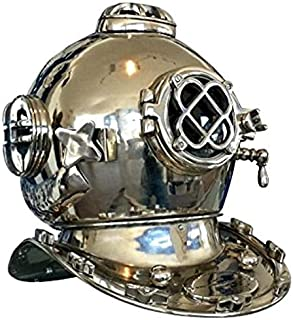 Antiques World Up for Sale is Nautical Collector's Piece Vintage Home Art Marine Décor Antique Heavy Brass & Copper U.S. Navy Mark V Diver's Chrome Diving Helmet AWUSADH 010