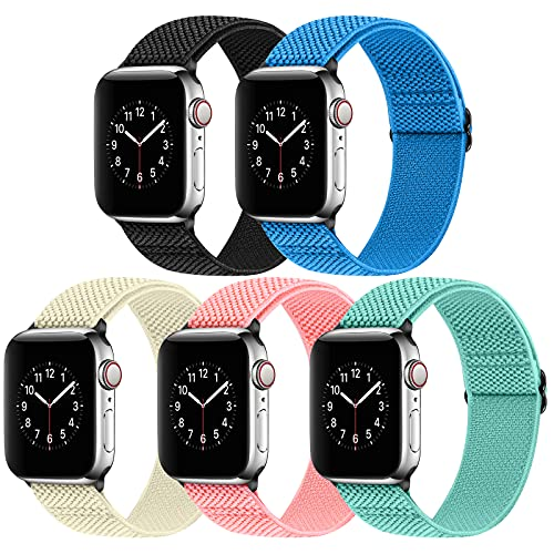 Vodtian Adjustable Nylon Braided Watch Band Compatible with Apple Watch Band 42mm 44mm, Stretchy Solo Loop Replacement Elastic Sport Straps for iWatch Series 6/5/4/3/2/1/SE