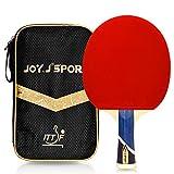 Joy.J Sport Raquette de Tennis de Table Professionnelle avec étui, Approuvé par ITTF Pingpong Raquette Paddle avec 9-Ply Bois et 8 Couches Lame de Carbone (INTERMÉDIAIRES-AVANCÉ)
