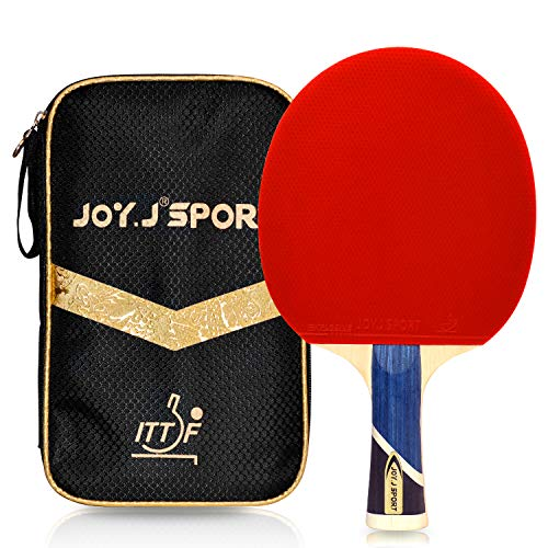 Joy.J Sport Professional 9-Ply Wood Table Tennis Paddle, ITTF Approved Ping Pong Racket with Storage Bag, Perfect for Intermediate and Advanced (Intermediate-Advanced)