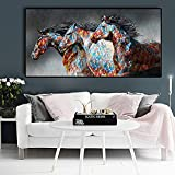 Running Horse Canvas Oil Paintings Cuadros Decor Posters and Prints Modern Animals Wall Art Pictures Living Room 35x70 CM (sin marco)