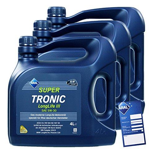 3x 4 L = 12 Liter ARAL SuperTronic Longlife III 3 5W-30 Motoröl inkl. Ölwechselanhänger