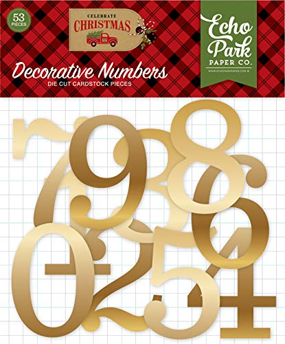 Echo Park Paper Company Celebrate Christmas Gold Foil Numbers ephemera, red, green, tan, burlap, black