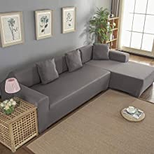 Wakects Funda Sofa Chaise Longue Brazo Chaise Derecho / Izquierdo para sofá de 3 + 2 plazas con península, resistente a las manchas poliéster Funda para Sofa en Forma L (gris)