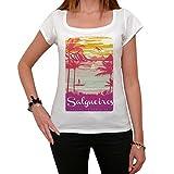 Salgueiros, Escapar al paraíso, La Camiseta de Las Mujeres, Manga Corta, Cuello Redondo, Blanco