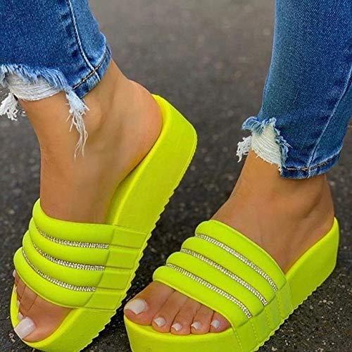 JIEIIFAFH Casual Zapatillas de Moda de Las Mujeres Zapatillas Mujeres Gruesos Zapatos de Las Plataformas de los Deslizadores de Las señoras de los Fracasos de tirón Diapositivas Roma Playa Sandalias