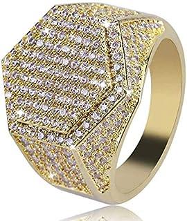 خاتم رجالي مرصع بالماس بتصميم هندسي سداسي، خاتم رجالي مطعم بالزركون الصغير ومطلي بالذهب، مجوهرات هيب هوب هيبستر، قياس 9 US