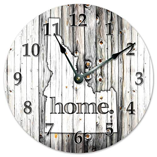 Sugar Vine Art Idaho State Silent Non Ticking Round Battery Operated Handmade Hanging Large15.5 Inch Wall Clock for Bedroom Office Cottage Decoration