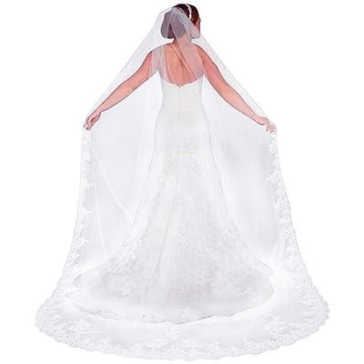 Qivange Wedding Bridal Veil with Comb 1 Tier La...