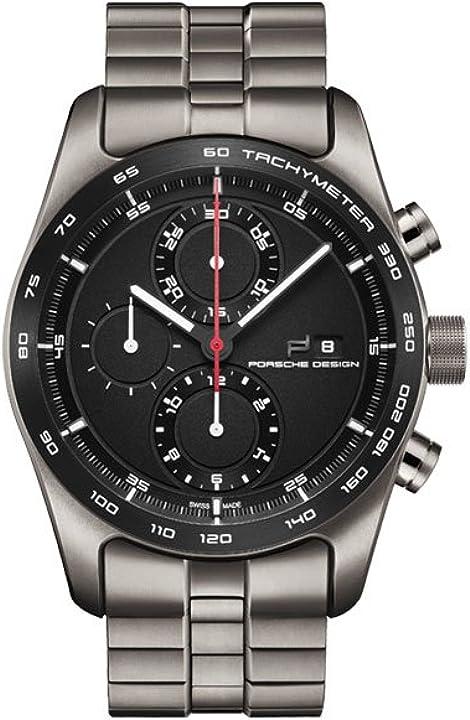 Orologio porsche design chronotimer collection orologio uomo analogico automatico con cinturino in titanio 6010.1.09.001.04.2