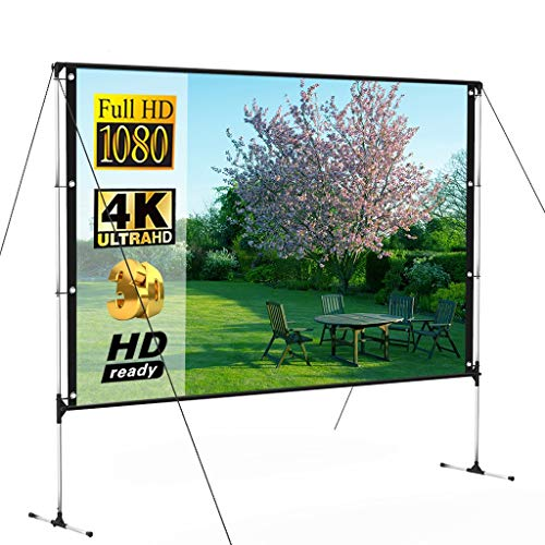 Release Outdoor Projector Screen with Stand 100 Inch 16:9 8K 4K HD 3D Fast Folding Portable Indoor Projection Screen