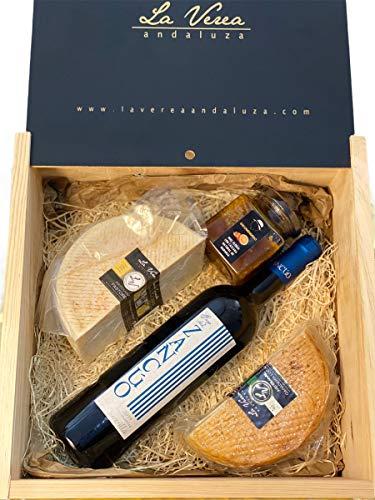 CAJA MARIDAJE Tierra de Sevilla (PACK SZ-2): 2 Quesos (Cabra PAYOYA y Vaca FRISONA) + Vino tinto Zancúo (D.O. Sierra Norte) + Miel natural con raspaduras de naranjas