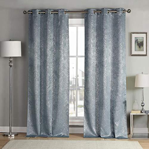 kensie Maddie Silver Metallic Textured Blackout Darkening Grommet Top Window Curtains Pair Drapes for Bedroom, Living Room-Set of 2 Panels, W38 X L84, Slate Blue