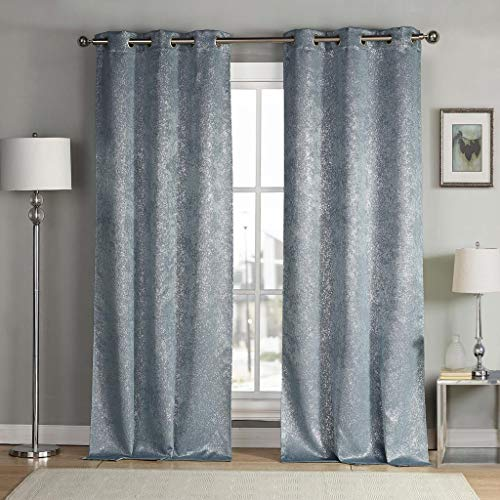 kensie Maddie Silver Metallic Textured Blackout Darkening Grommet Top Window Curtains Pair Drapes for Bedroom, Living Room-Set of 2 Panels, W38 X L84, Slate Blue