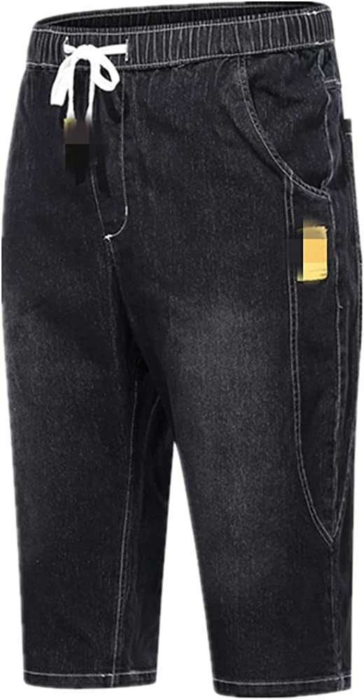 NP Summer Men's Stretch Short Jeans Denim Shorts Men Baggy Wide Leg