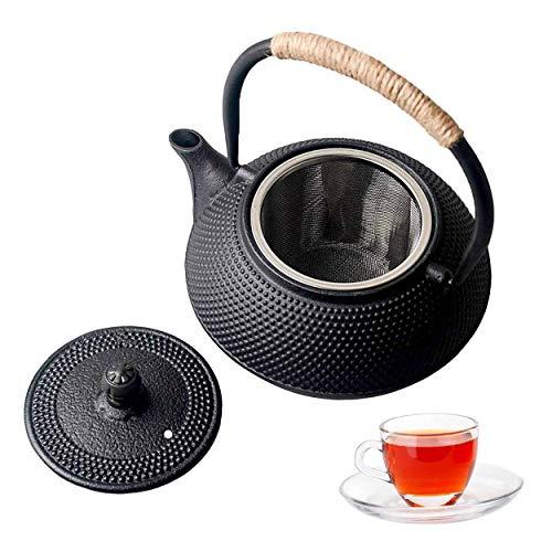Hwagui Tea Kettle, Japanese Cast Iron Teapot, Tea Pot with Infuser for Loose Tea, Cast Iron Tea Kettle Stovetop Safe, 650ml/23oz