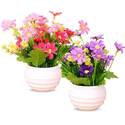 Mlysnd Flores Artificiales, 2 Piezas Exterior Macetas Crisantemo de Plástico Artificiales Altamente Realistas con Maceta para la Oficina del Hotel Mesa de Cocina Decoración de Jardín (Rosa + Morado)