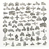 Transportation Vehicle Theme Charms, JIALEEY Wholesale Bulk Lots Alloy Charms Pendants DIY for Jewelry Making and Crafting, Antique Silver 70PCS