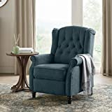 YANXUAN Pushback Recliner Chair, Tufted Armchair with Padded Seat, Backrest, Nailhead Trim,Blue