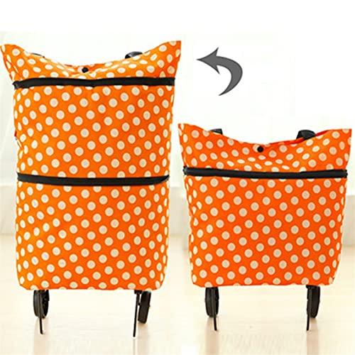 Bolsa De Compras Plegable Con Ruedas Carro De Compras Plegable 2-1 Carro De Compras Del Hogar Del Supermercado Bolsa De Compras Reutilizable Bolsa De Compras De Gran Capacidad ( Color : Orange )