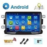 Autoradio Android 7.1 pour Renault Dacia Navigation GPS CAMECHO 8 Pouces écran Tactile capacitif Lecteur stéréo de Voiture WiFi Bluetooth FM Double USB pour Sandero Duster Logan Dokker