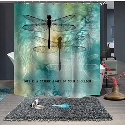 Shower Curtain Set with Hooks Soap Resistant Dragonfly Teal Love is a Natural Angel on Your Shoulder Bathroom Decor Machine Washable Polyester Fabric Bath Curtain 71 x 71 inches