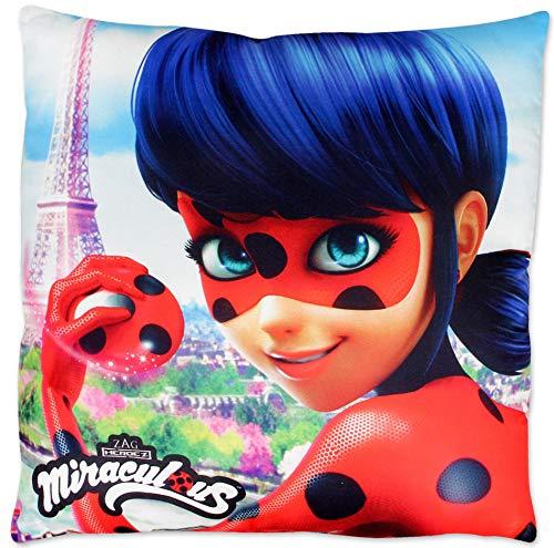 Cool Fun-T-Shirts Ladybug Miraculous kussen 40x40cm met vulling - Parijs Eiffeltoren sofakussen