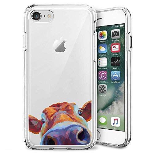 Fashion Anti-Scratch Soft Durable TPU Ultra-Clear Silicone UV Printing Protective Sun and Moon Phone Case for iPhone 7 8 (Watercolor Cattle)