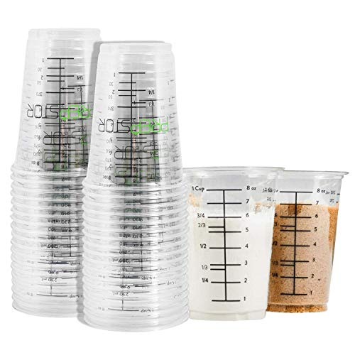 Disposable Measuring Cups for Resin - Pack of 20 8oz Clear Plastic Measuring Cup for Epoxy Resin, Stain, Paint Mixing - Half Pint Reusable Multipurpose Mixing Cups for Cooking and Baking