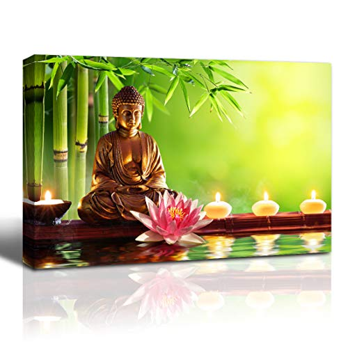 The Melody Art Canvas Wall Art Prints Buddha Painting Candles Black Zen Stones Bamboo pistures Decorate for Living Room Home Stretched and Framed Ready to Hang,16x24inches