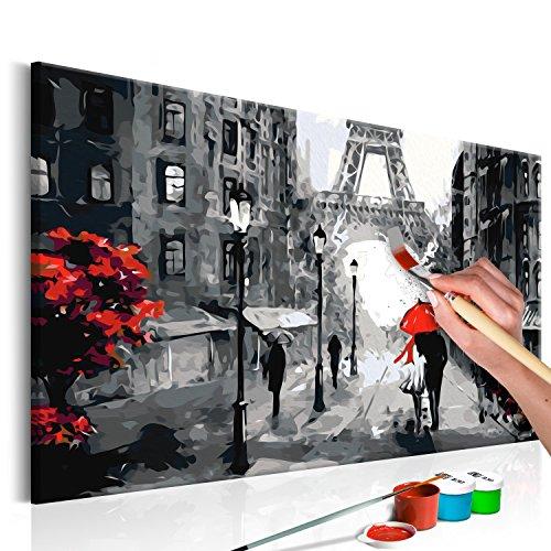 murando - Malen nach Zahlen Romantisches Paris 60x40 cm Malset mit Holzrahmen auf Leinwand für Erwachsene Kinder Gemälde Handgemalt Kit DIY Geschenk Dekoration n-A-0225-d-a