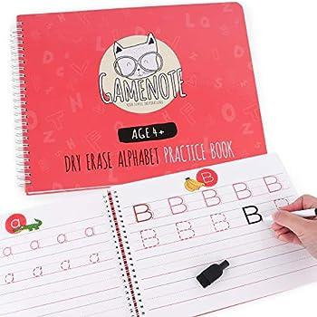 GAMENOTE Dry Erase Letters Practice Book with Marker - Wipe Clean Alphabet Handwriting Workbook Kindergarten Writing Paper with Lines for Preschool Kids