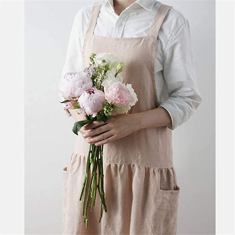 AOBBYBBS Cotton Pinafore Apron Halter Cross Tie Bandage Solid Color Korea Style Simple Aprons Pink Double Pockets