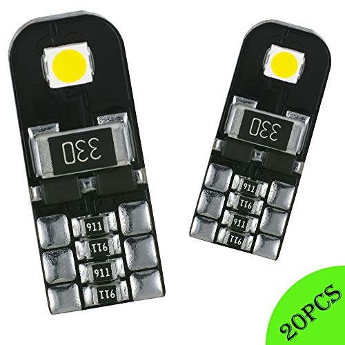 AGLINT 20X Ampoules T10 LED CANBUS Sans Erreur Voiture Lampe 12V Blanc T10 W5W 2825 Intérieur De Voiture Lumière Dôme Feux De Plaque