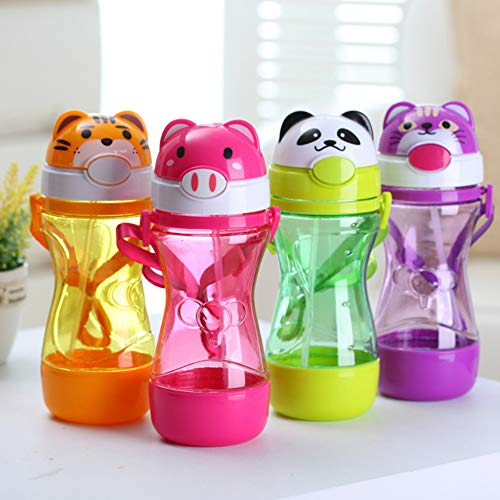 Recoproqfje Feeding Cup of Cartoon Animal Baby Kids Drinking Water Straw Bottle Strap Leakproof Random