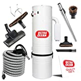 Ultra Clean Central Vacuum Unit 7,500 sq. ft. with Tangential Bypass Motor and Deluxe Air Turbo Power Nozzle ON/Off Control Switch Hose Ideal for Hardwood and Low-Pile Rug and Carpet (1, 35 ft)