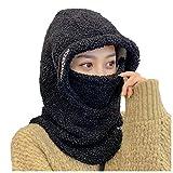 Sombrero, Mujer Adulta Unisex sólido Lindo Sombrero Invierno cálido Camuflaje Gorro silenciador mascarilla, Ropa Zapatos y Accesorios (Negro One Size)