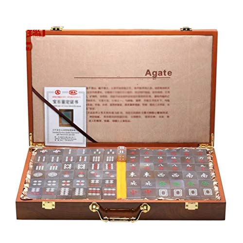 Chinese Mahjong Tile Games Mah Jong Game Set Board Game Chinese Traditional Mahjong Games Agate Entertainment Favorite Best Gift Lover (Color : Natural, Size : 362818 mm)