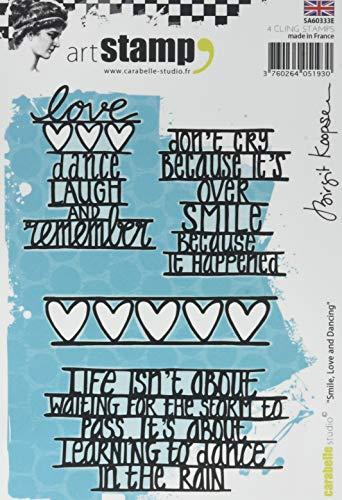 Carabelle Studio Smile, Love & Dancing Cling Stamp Art, Stempel Set, lächeln, lieben und tanzen, für Papierbasteln, Stempelprojekte, Kartengestaltung und Scrapbooking